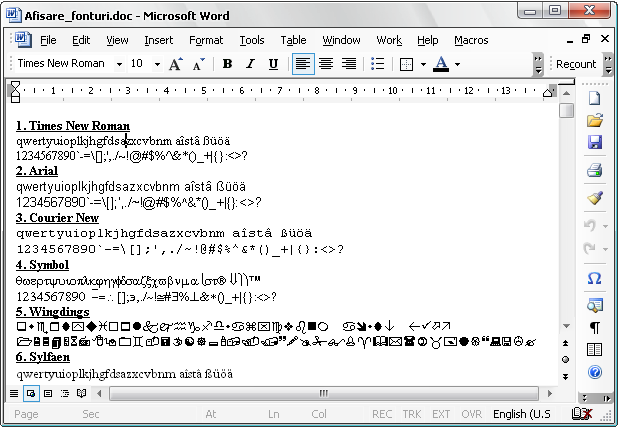 Word display all fonts with macro