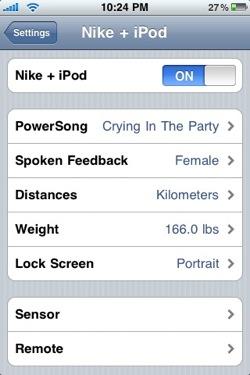 Configuración de Nike+ en iPod Touch