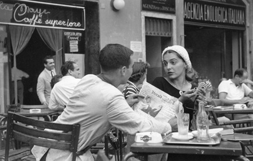 Flirting at the cafe - florence 1951