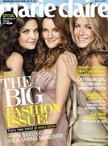Jennifer Aniston Marie Claire March 2009 cover photo