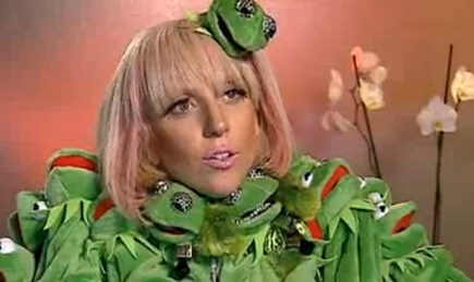 Lady GaGa German Interview Kermit The Frog Outfit picture photo