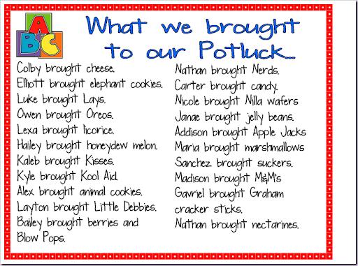 Potluck Food List Potluck!