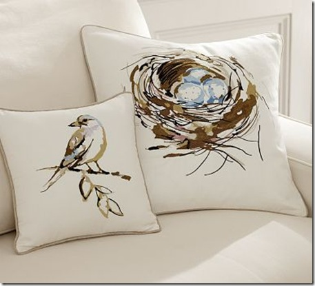Embroidered Bird and Nest Pillow Cover Pottery Barn