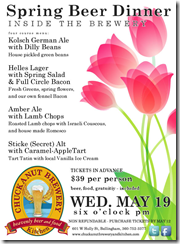 Chuckanut's Spring Beer Dinner