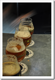a vertical demonstration with several of Green Flash's beers on the bartop