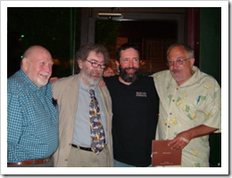 image of John Maier (2nd from Right) with Fred Eckert, Michael Jackson, & Rogue Ales owner Jack Joyce courtesy of Banjobandolas' Flickr page