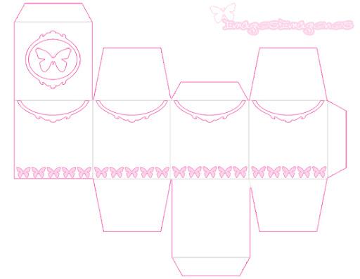 caja rosa con mariposas para imprimir
