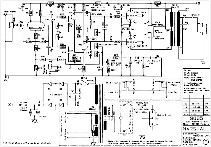 paging larry  sdm  techs   marshall 9005 poweramp circuit