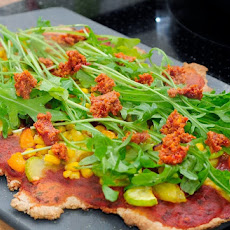 Vegetable Arugula Whole Wheat Pizza with Sundried Tomato Pesto