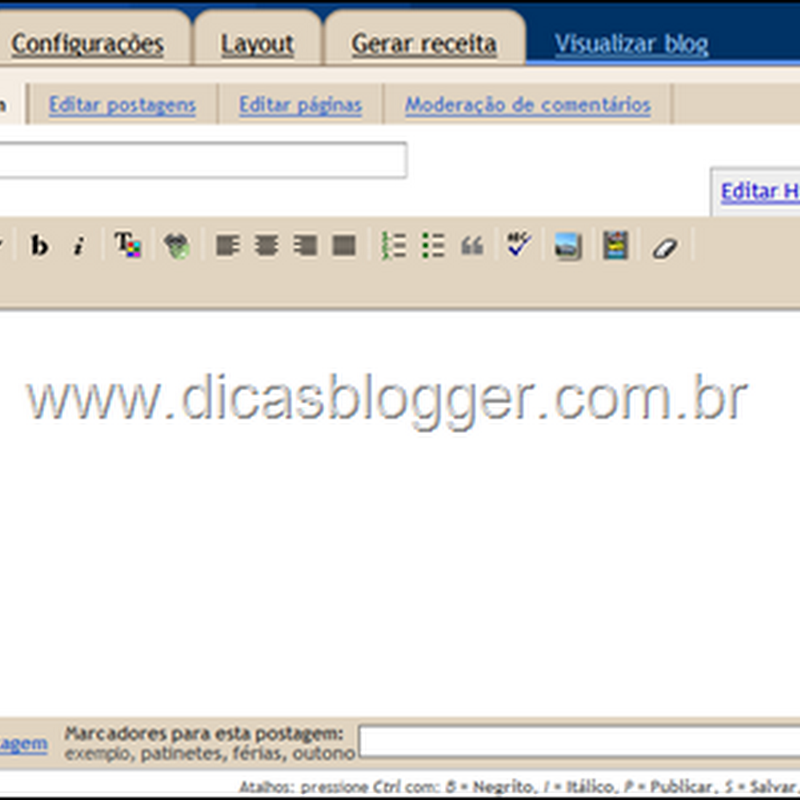 Conhecendo os editores de posts do Blogger