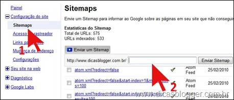 Sitemap com FeedBurner