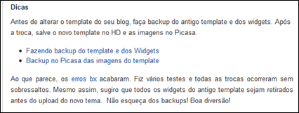 Aviso no template Blogger Writer