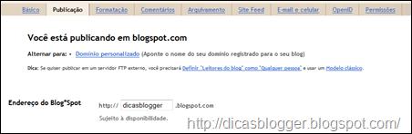 configurações de publicação do blogger