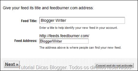 Configurações do feed