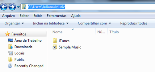 Pasta iTunes original (Win 7)