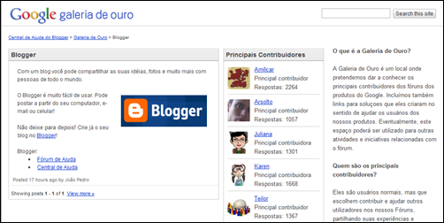 Galeria de Ouro - fórum do Blogger