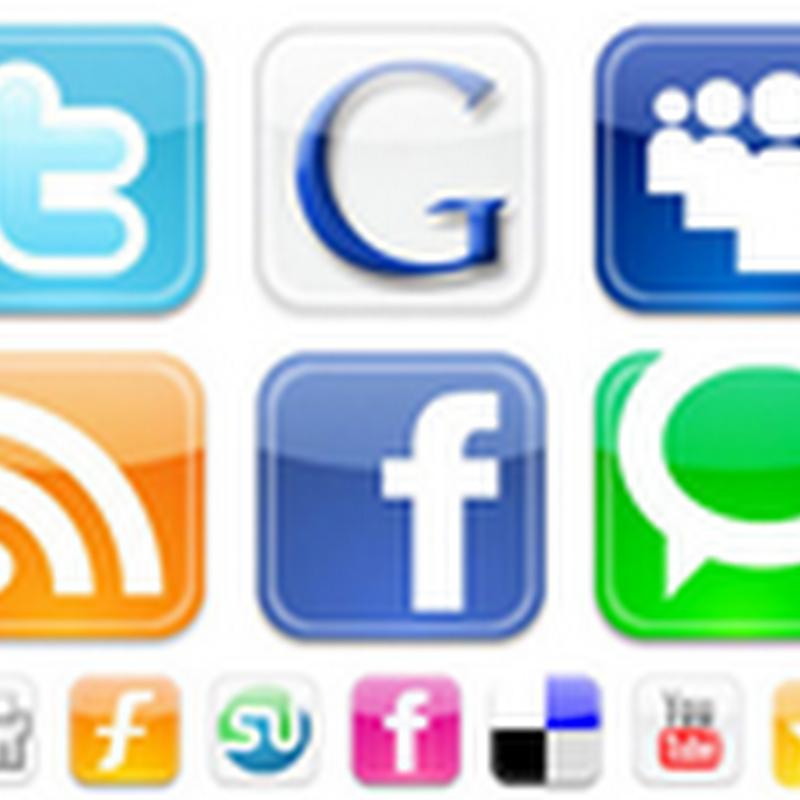 Widgets com ícones para redes sociais