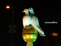 White doves at Sri Aman round-about