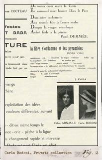 Carla Bodoni en Dada: Dadaphone. París: n.7, marzo 1920. Editada por Tristan Tzara. Pulse para ver la imagen completa