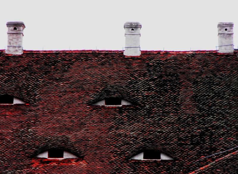 Sibiu, lucarna - detaliu acoperiș din Piața Sfatului