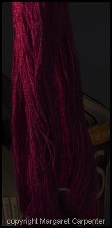 Red violet weft yarn