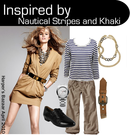 Harper's Bazaar Chic at Every Price April 2010 Nautical and Khaki outfit