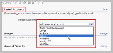 Menghubungkan Akun Facebook dengan Email, Myspace, Openid, dll