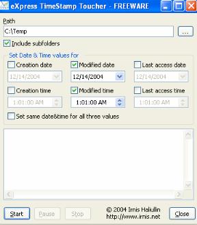 eXpress TimeStamp Toucher