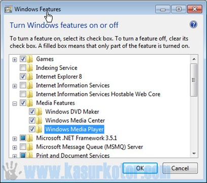 Uninstall Windows Media Player di Windows 7