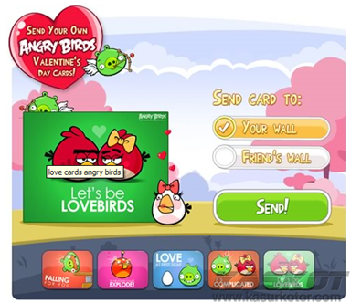 Angry Birds Valentine Postcards