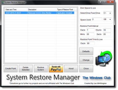System Restore Manager, Mengatur System Restore Windows