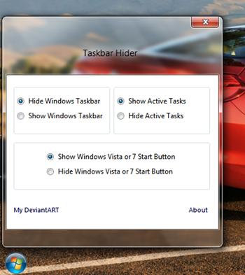 Menyembunyikan Taskbar dan Tombol Start di Windows 7 dengan Taskbar Hider
