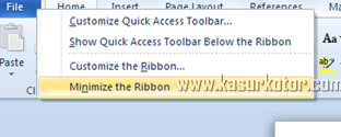 Menonaktifkan Auto Hide Ribbon Toolbar di MS Word