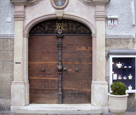 Wooden door in Salzburg, Austria