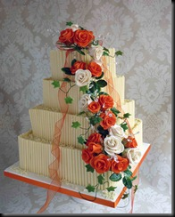 4-tier-Square-Cigarellos-Wedding-Cake-with-Orange-Roses