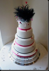 4 tier Hearts and Feather wedding cake