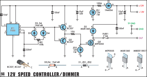 Light Dimmer Circuit Diagram http://www.diyelectronicsprojects.com/2013/01/circuit-diagram-12v-speed-controllerdimmer.html