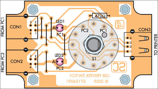 Parts Layout For USB Printer Share Switch
