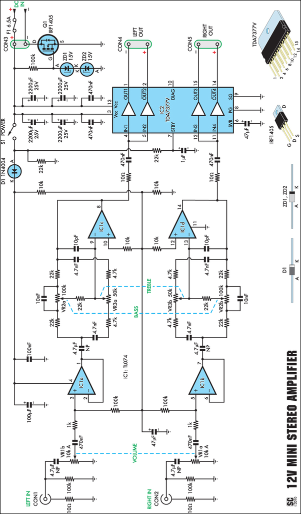 12V 20W Stereo Amplifier circuit schematic