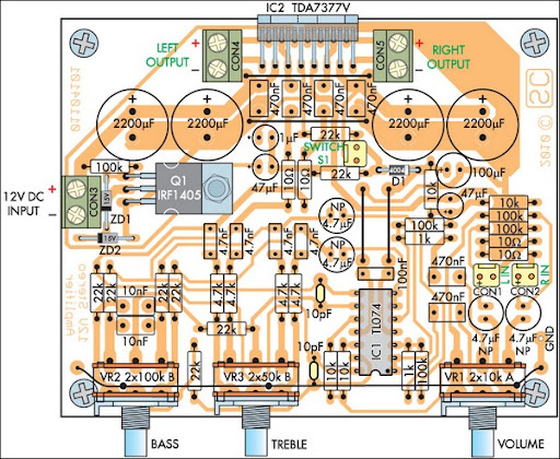 PCB layout of compact 12V 20W Stereo Amplifier circuit schematic