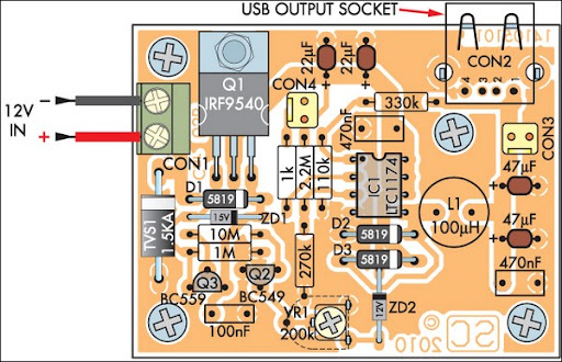 Parts Layout Low-Power Car-Bike USB Charger