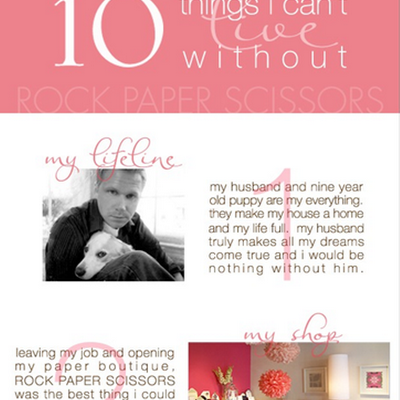10 Things I Can't Live Without: Lauren of Rock Paper Scissors
