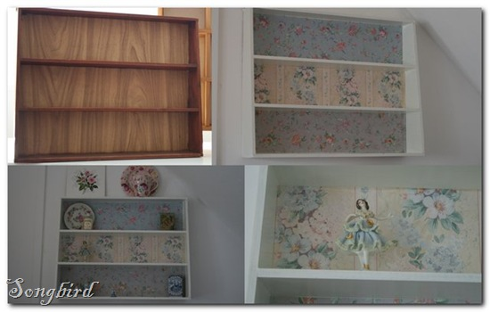 Wallpapered cupboard collage
