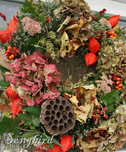 Fall wreath frontdoor detail