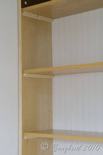 Beadboard Wallpaper and Shelves Supports