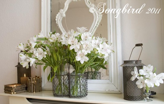 Spring White Mantel Vignette 4