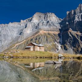 Mirroring Fridolin-hut by Frank Tschöpe - Landscapes Mountains & Hills