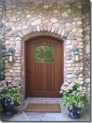 Wood Door with Paneled Art Glass
