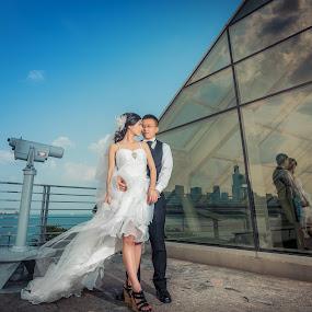 by Wenkan Zhu - Wedding Bride & Groom