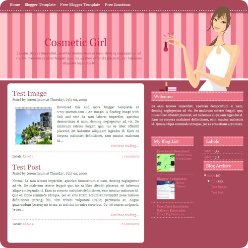 cosmetic-girl-blogger-template